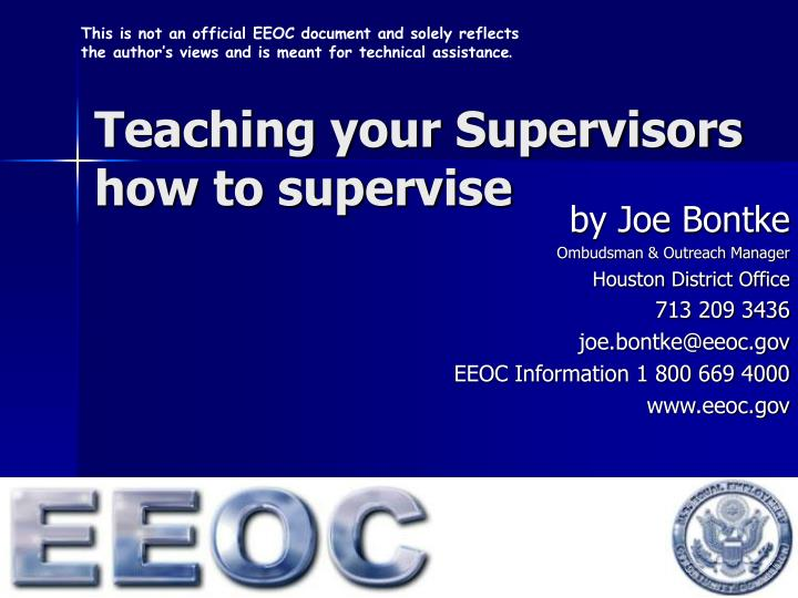 teaching your supervisors how to supervise n.