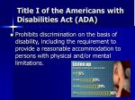 title i of the americans with disabilities act ada
