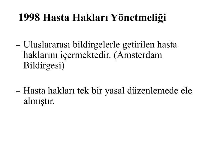 1998 Hasta Hakları Yönetmeliği