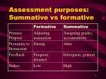assessment purposes summative vs formative