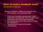 does formative feedback work empirical evidence