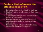 factors that influence the effectiveness of fa