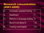research concentration 2001 2005