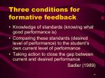three conditions for formative feedback