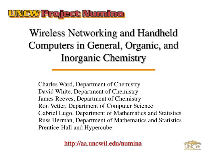 wireless networking and handheld computers in general organic and inorganic chemistry n.