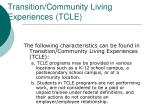 transition community living experiences tcle1