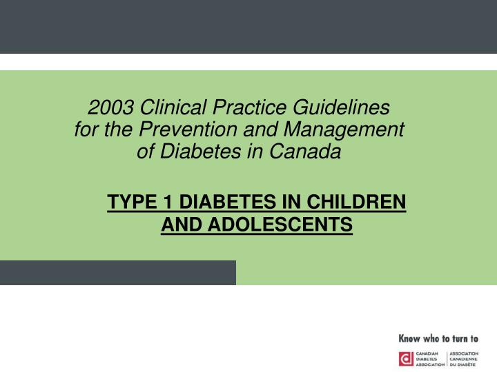 type 1 diabetes in children and adolescents n.