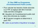iv des omd au programme d investissement public suite