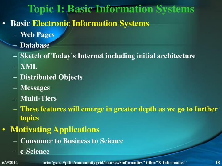 Topic I: Basic Information Systems