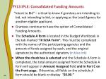 fy13 iple consolidated funding amounts