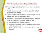 fy2013 core functions required services