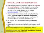 fy2013 iple grant application submission