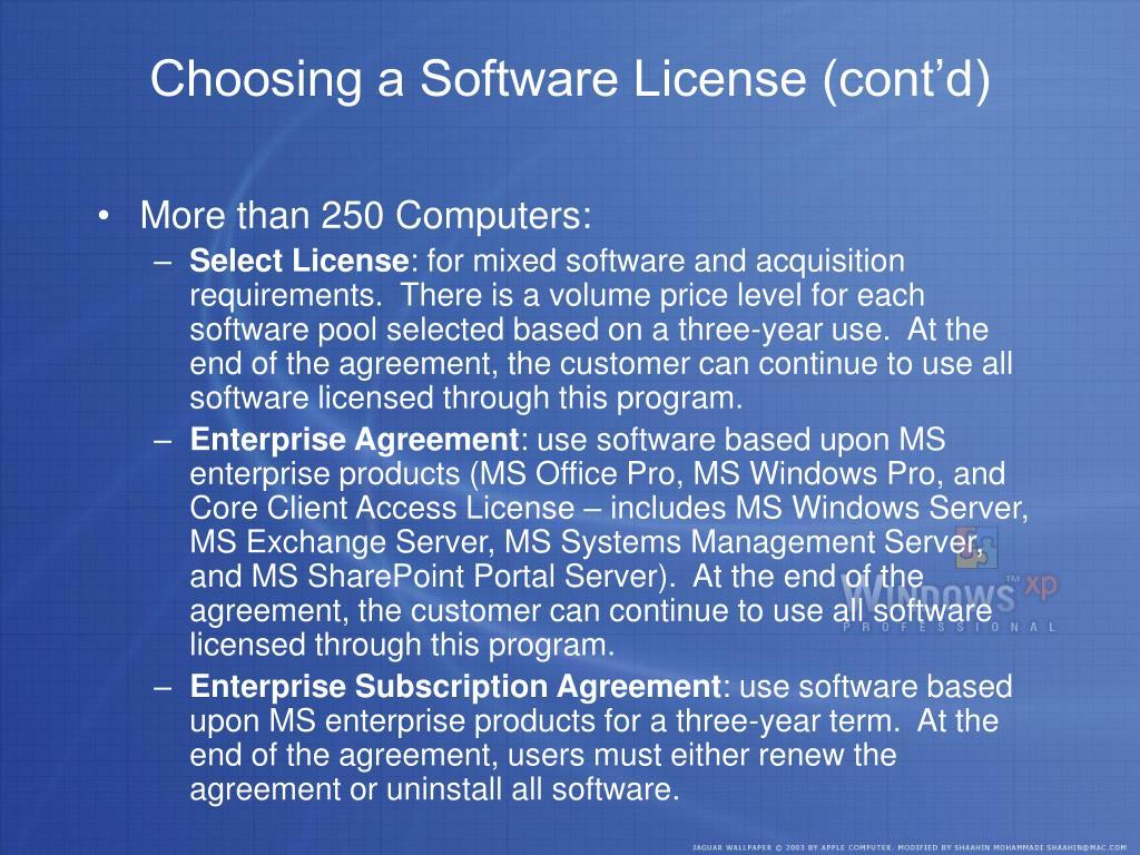 Choosing a Software License (cont'd)