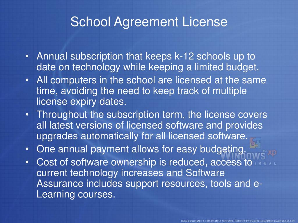 School Agreement License