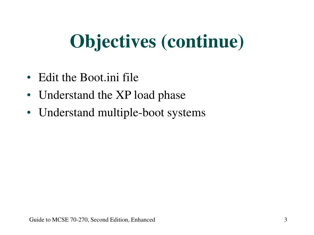 Objectives (continue)