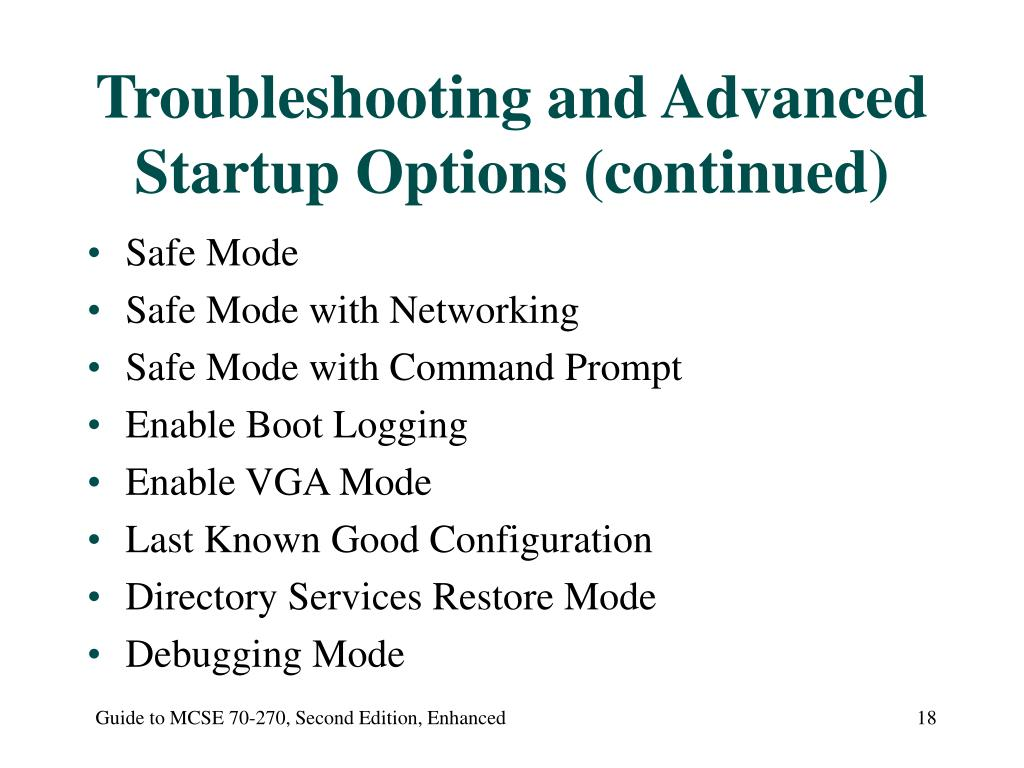 Troubleshooting and Advanced Startup Options (continued)
