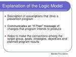 explanation of the logic model