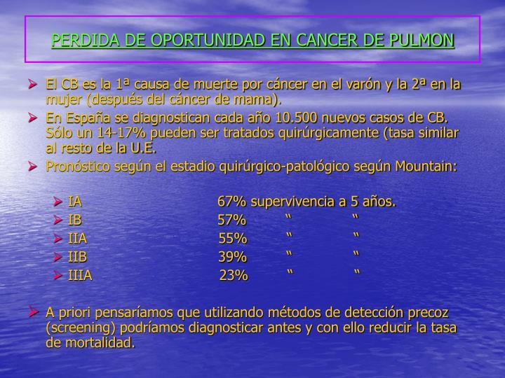 Perdida de oportunidad en cancer de pulmon