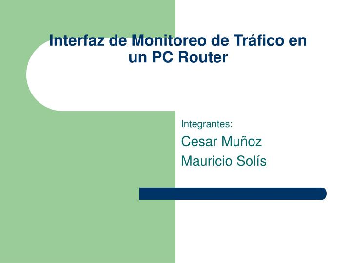 interfaz de monitoreo de tr fico en un pc router n.