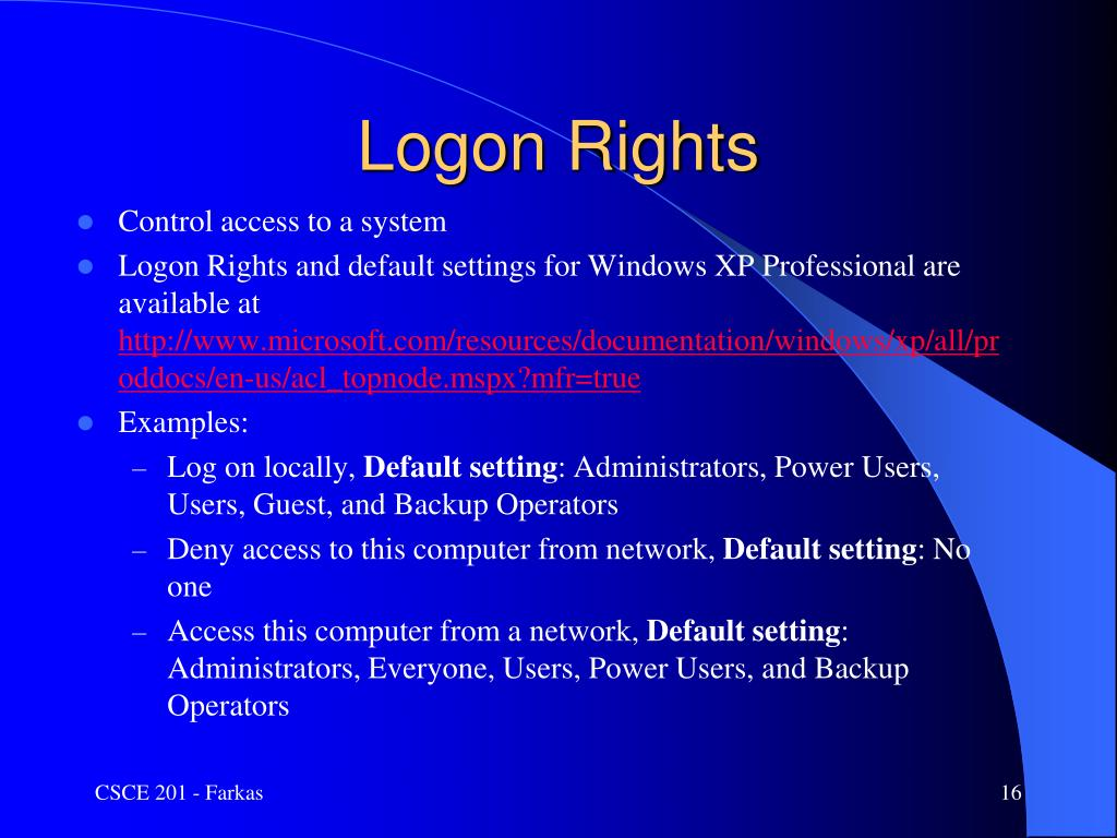 Logon Rights