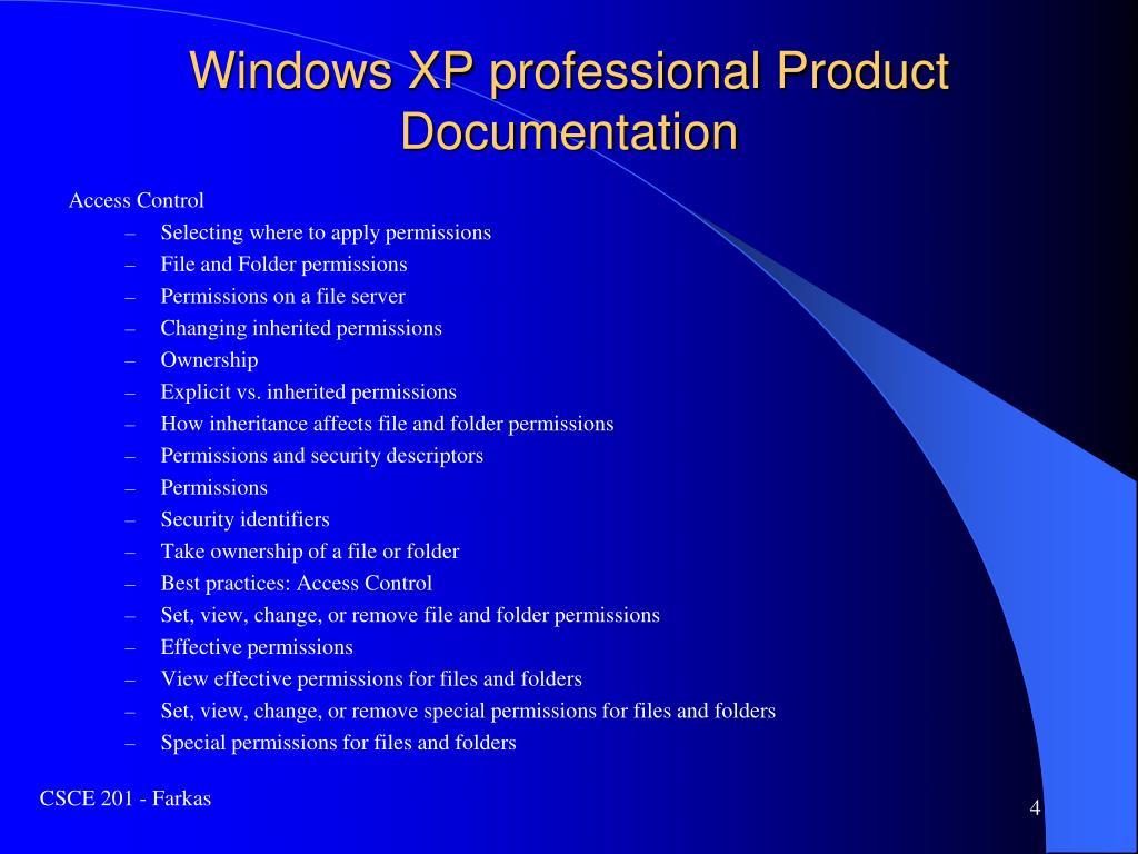 Windows XP professional Product Documentation