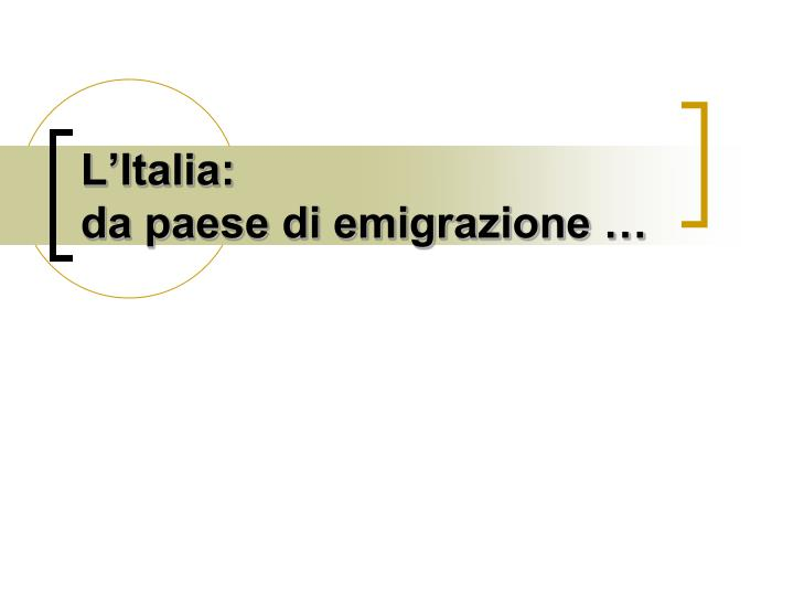 L italia da paese di emigrazione