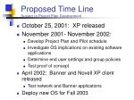 proposed time line subject to project plan development