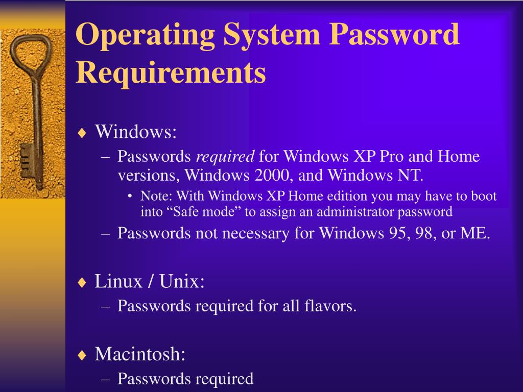 Operating System Password Requirements
