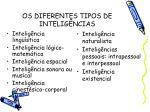 os diferentes tipos de intelig ncias
