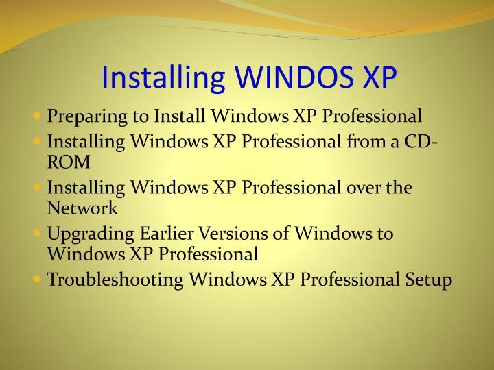 Installing windos xp