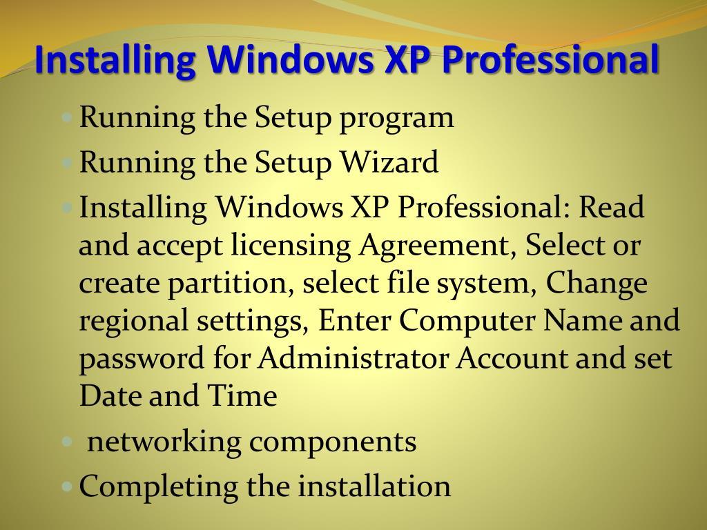 Installing Windows XP Professional