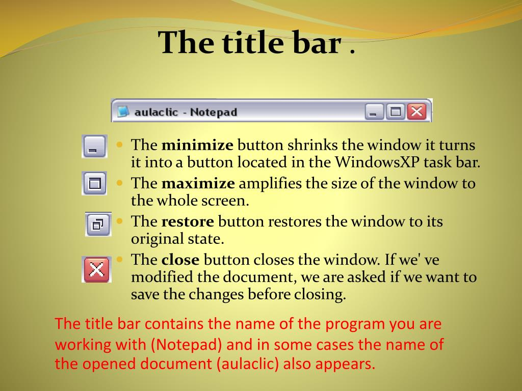 The title bar