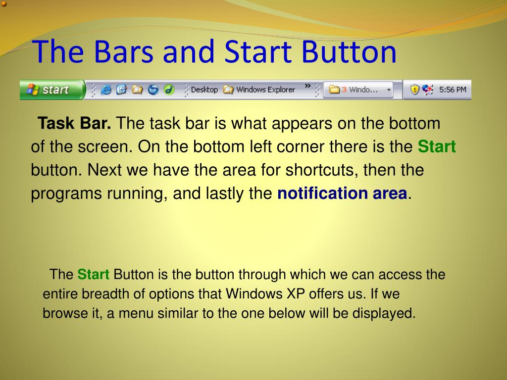 The Bars and Start Button
