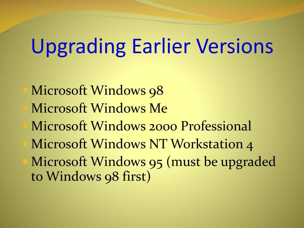 Upgrading Earlier Versions