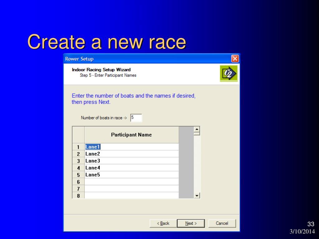 Create a new race