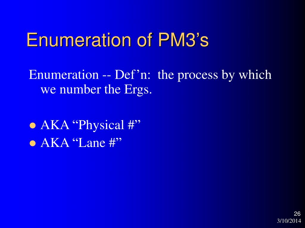Enumeration of PM3's
