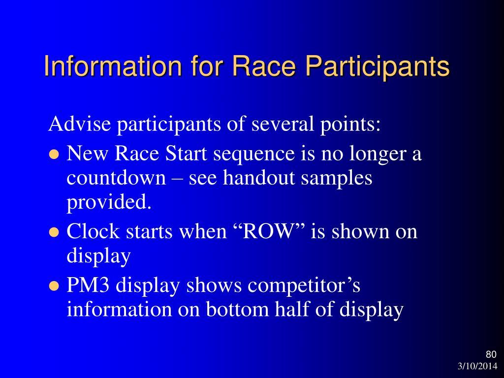 Information for Race Participants