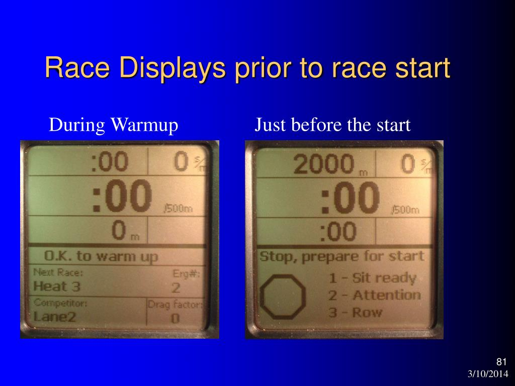 Race Displays prior to race start
