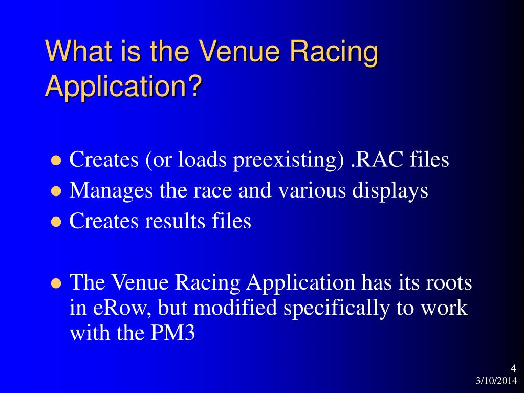 What is the Venue Racing Application?