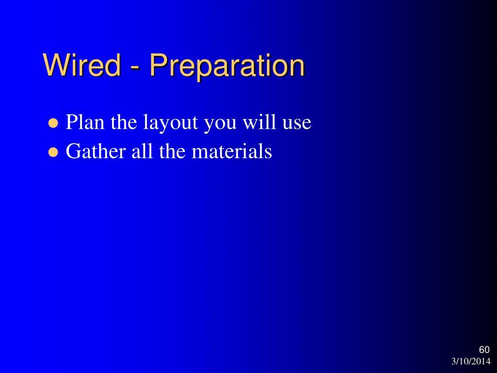 Wired - Preparation