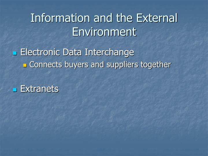 Information and the External Environment