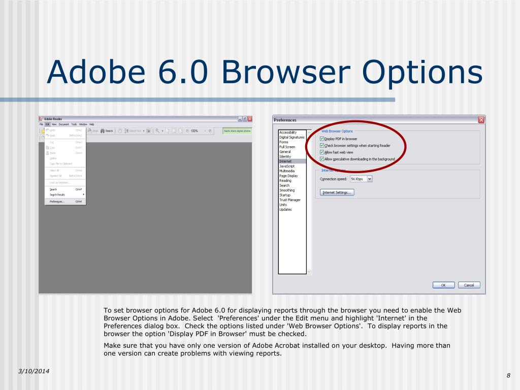 Adobe 6.0 Browser Options