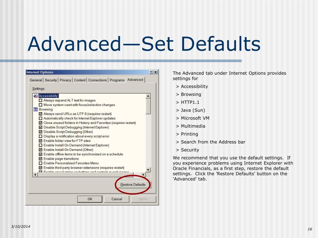 Advanced—Set Defaults