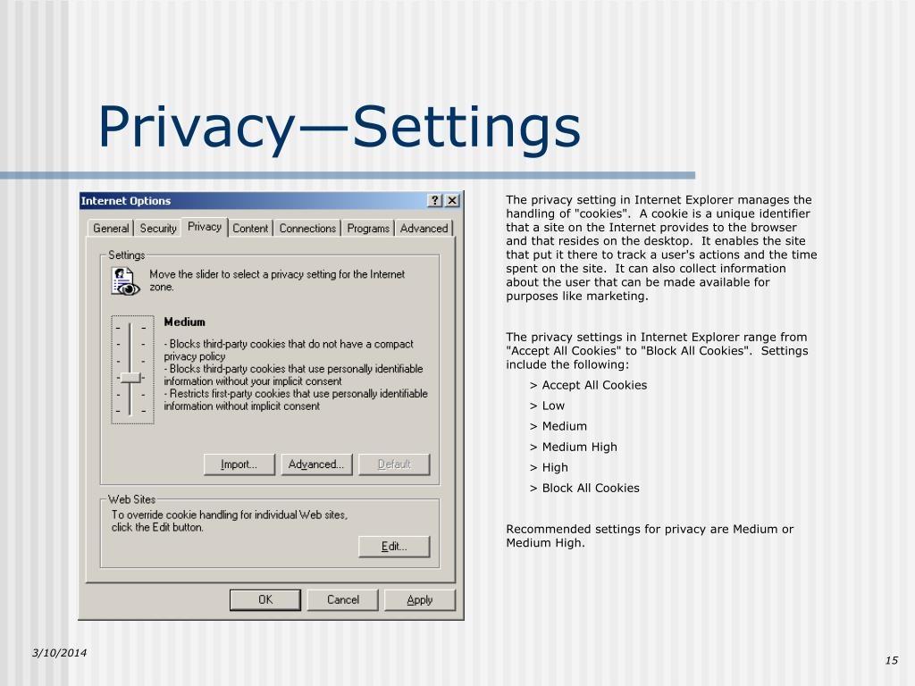 Privacy—Settings