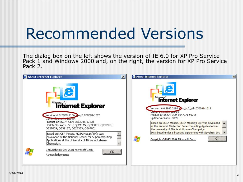 Recommended Versions
