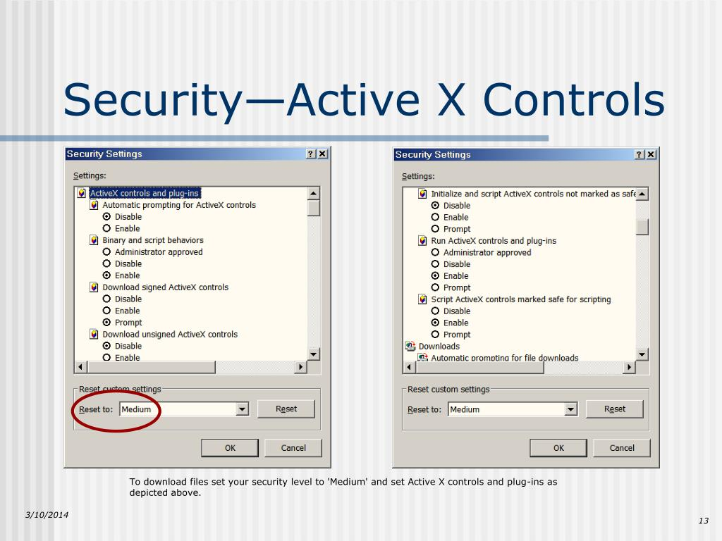 To download files set your security level to 'Medium' and set Active X controls and plug-ins as depicted above.