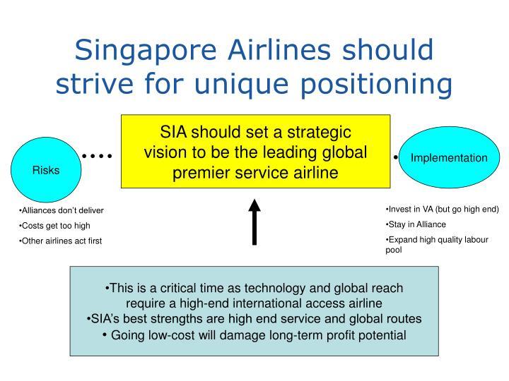 Singapore Airlines should strive for unique positioning