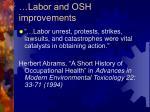 labor and osh improvements