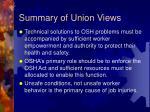 summary of union views