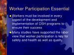worker participation essential